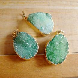 Druzy Pendants Natural Canada - 3pcs Green color Druzy Quartz Pendants free shape Natural Gem stone Crystal Drusy Pendants gold plated