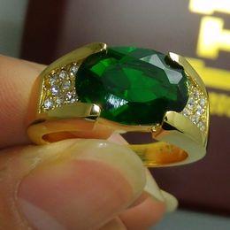 Wholesale Men Rings Gem - Size 9 10 11 Fashion jewelry 10kt gold filled GF Peridot Gem Men Ring gift