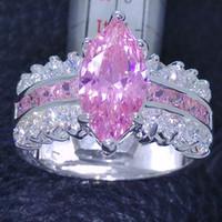 anillo de bodas rosa establece al por mayor-Victoria Wieck Garra Set Marquise Cut Pink Sapphire diamante simulado 925 anillo de bodas de plata Sz 5-10 envío gratis