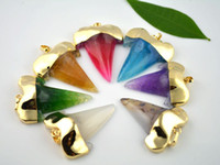 Wholesale Teeth Gems - 5pcs Hot Sale High Quality Mixed Color Natural Agate Gold Plated Shark Tooth Shape Gem Stone Pendant Charms Jewelry Findings