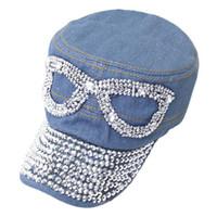 Wholesale Snapback Hat Glass - Fashion Denim Rhinestone Glasses Snapback Peak Cap Flat Hat