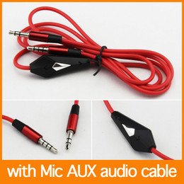 Wholesale Iphone Cable Extention - Audio cable 120cm with Mic Red AUX Car Extention Cable For cellphone For MP3 MP4 For iphone 4 free shipping Fedex 500pcs