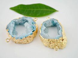 3 connecteurs plaqués or Druzy Geode Quartz plaqués or de couleur bleue, connecteurs de pierres précieuses en cristal Druzy ? partir de fabricateur