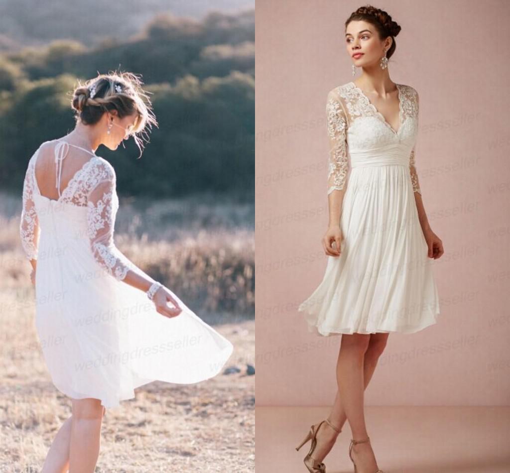 Discount short beach wedding dresses sheer 3 4 long for Beach wedding dresses with sleeves