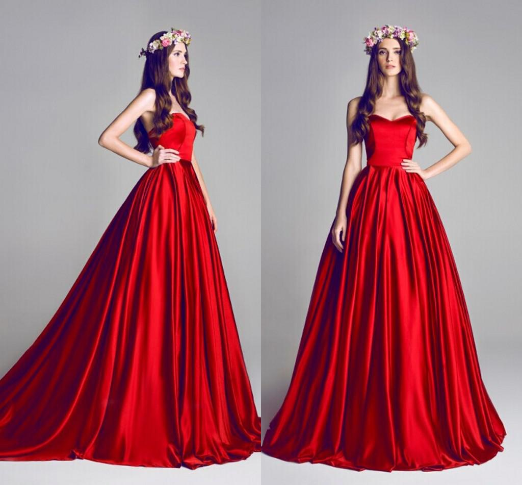 2015 Red Ball Gown Wedding Dresses Sweetheart Simple Court Train ...