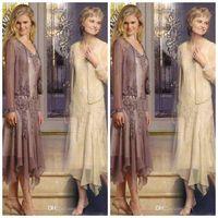 Wholesale Tea Length Organza - Cheap Newest Design A-Line V-Neck Mother Of the Bride Dresses Tea Length Organza Appliques Beads Long Sleeve Jacket 2015 Newest AJ166