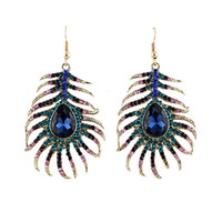 Wholesale Feather Shaped Earrings - Trendy Multicolor Rhinestone Peacock Feather Shape Gold Color Zinc Alloy New Designer Drop Earrings Brincos for Women