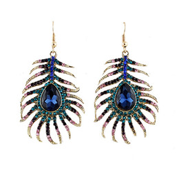 Wholesale Feather Necklaces - Trendy Multicolor Rhinestone Peacock Feather Shape Gold Color Zinc Alloy New Designer Drop Earrings Brincos for Women
