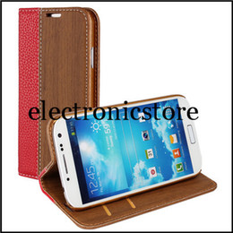 Wholesale Covers For Galaxy S4 Wood - for samsung galaxy s4 i9500 phone Wood splice Lychee pattern leather wallet stand side flip case cover with 5 colors + free shipment
