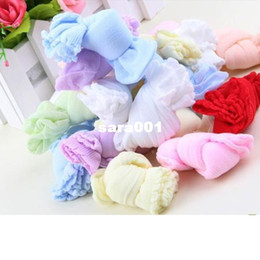 Commercio all'ingrosso-New Fashion Lovely Colorful Solid morbido cotone neonati neonati bambini calzini corti del piede, trasporto libero Shipping240Pair / 480PCS da