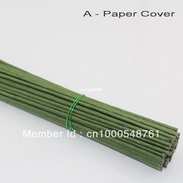 Free shipping wholesale 2# 2mm 40cm length Paper or PVC green pachets with wire artificial flower stem(100pcs lot)