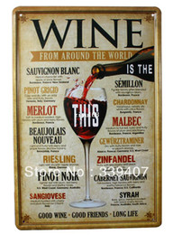 Wholesale Metal Cafe - Wine 20*30cm metal painting Retro poster Vintage metal tin signs bar home cafe Pub wall decor TP478