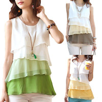 Wholesale Brown Ruffle Blouse - S5Q Sexy Women's Ladies Chiffon Tops Loose Sleeveless Casual Tiered Blouse AAADIX