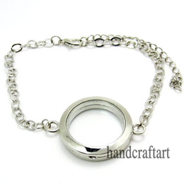 Wholesale Glass Locket Bracelets Wholesale - 30mm Silver Round magnetic glass floating locket bracelet Zinc Alloy AccessoryLSLB03