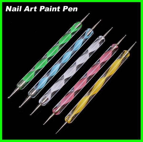 Best price 1000pcs/lot 200sets 5 pcs Nail Art Tool Steel Dotting Marbleizing Pen Nail Art Paint Pen Decoration Nail Art Manicure Tool