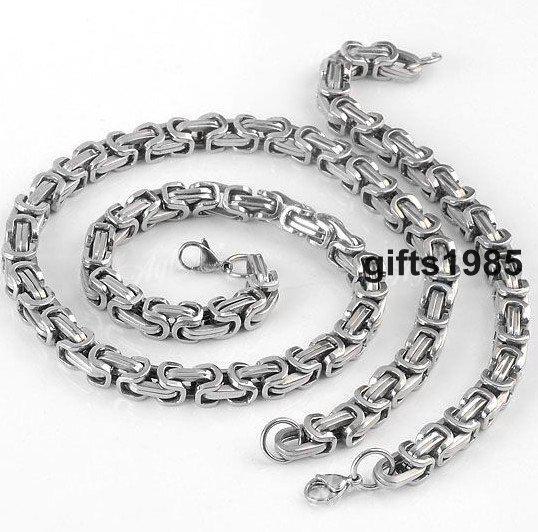 Collana da uomo in argento bizantino da 8mm con set di gioielli in stile Rock