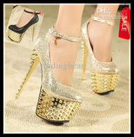 Wholesale Spiked Platform Pumps - New Women's Super High Heel 16 cm Waterproof Shoes diamond wedding shoes Super High Platform Spikes Pumps 2 Colors Gold Black