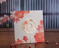 Wholesale Double Happiness Card - 50pcs a Set Free Printable Customized Wedding Invitations Cards Double Happiness & Pink Flower