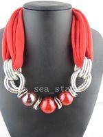 Wholesale Scarves Pendants Short - New Fashion Short Bib Pendant Scarves Charms Ceramics Beads Necklace Pendant Jewelry Necklace Scarves Free Shipping