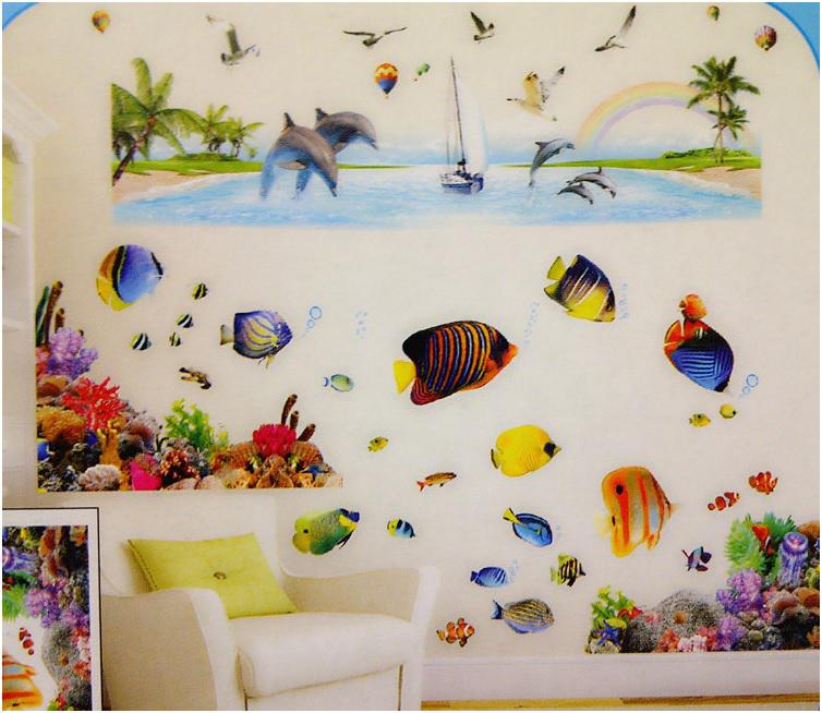 Free Shipping Colorful 3D Flounder Vinyl Removable Wall Stickers For  Bathroom Fish Sticker Home Decorations Kids Room Part 10