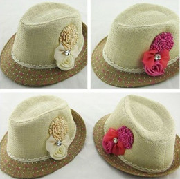 Wholesale Kids Jazz Hats - 2014hot 5pcs lot Baby Flower Caps Hat Kids Straw Fedora Hat Girls Sun Hat Jazz Cap Baby Strawhat