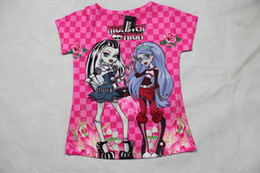 Wholesale Cartoon Kids Tees - Kids Clothes Cartoon High School Girls Short Sleeve Girl Skull Pattern Tshirt Tops Tee Children Clothing Child Monster High Tshirts