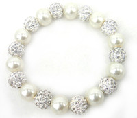 Wholesale Pearl Spacers - New Arrive Free Shipping 10mm beige pearl and 10mm shamballa ball and spacers beads bracelet