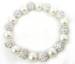 Wholesale Resin Ball Beads - New Arrive Free Shipping 10mm beige pearl and 10mm shamballa ball and spacers beads bracelet