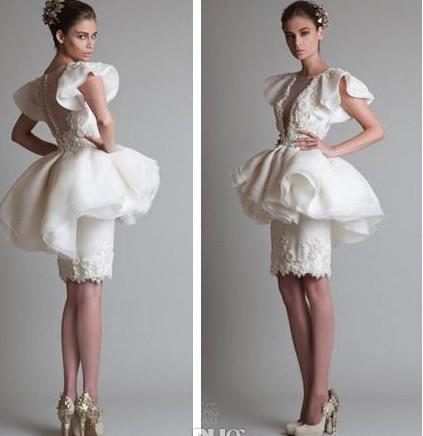 Krikor Jabotian Sheath Pearls Short Prom Dresses Beaded Peplum Ruffles Organza Little White Beach Bridal Evening Party Gowns 2019