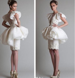 Images White Evening Dresses Australia - Krikor Jabotian Sheath Pearls Short Prom Dresses Beaded Peplum Ruffles Organza Little White Beach Bridal Evening Party Gowns 2019