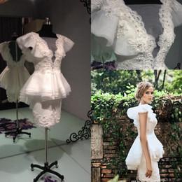 Wholesale Short Peplum Bridal Dresses - Krikor Jabotian Sheath Pearls Short Prom Dresses Beaded Peplum Ruffles Organza Little White Beach Bridal Evening Party Gowns 2017