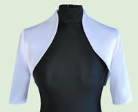 ingrosso giacca donne matrimonio-Novità Donna Abiti da sposa Giacche bianche Raso Bolero Giacca aderente con mezza manica Custom Made DH7383