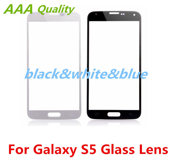 For Samsung Galaxy S5 Touch Screen Glass lens Black White Blue Outer front Glass Cover for Samsung Galaxy S5 i9600 Free Shipping