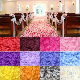 Wholesale rose events wedding - 100pcs Silk Rose Flower Petals Leaves Wedding Table Decorations Event Party Supplies Multi Color Wreaths