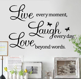 Wholesale Live Laugh Love Quotes - Details about LIVE LAUGH LOVE Wall Quote Stickers Removable Vinyl Decal Home Art Decoration