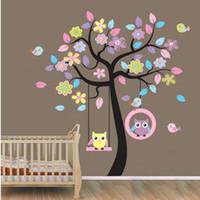 bebek kreş baykuş duvar çıkartmaları toptan satış-Sanat dekor Baykuş Kuş Ağacı Salıncak DIY Duvar Sticker Çıkarılabilir Vinil Çıkartması Çocuk Bebek Kreş Odası