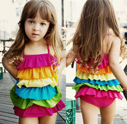 Beachwear girls Hot-Selling 2014 Summer Rainbow kid Swimwear One Piece Dress girl swimsuit Female Child Kids Swimwear