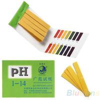 ph papel de tornasol al por mayor-80 Tiras de registro completo de pH ácido alcalino 1-14 Kit de papel Prueba de Análisis de aguas de tornasol