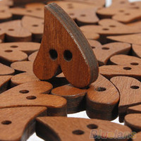 Wholesale Heart Shaped Wooden - Novelty 100 PCS set Brown Wood Wooden Sewing Heart Shape Button Buttons Craft Scrapbooking 20mm for Garment Accessories