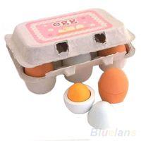 jouets de cuisine pour enfants achat en gros de-6pc classique Oeufs en bois Yolk Jeux de simulation Livraison Cuisine Baby Food Enfants Kid jouet éducatif gratuit