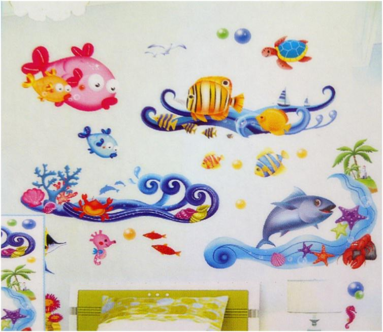 3d Fishu0026Amp;Bubble Removable Wallpaper On Walls Bathroom Decor Decoration  Wall Stickers For Children Kids Room Wall Decals Poster Sticker For Wall  Sticker ...