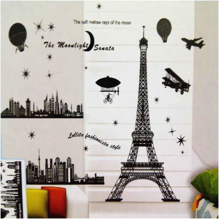 Paris Eiffel Tower Decoration Living Room Large Vinyl Wall Art