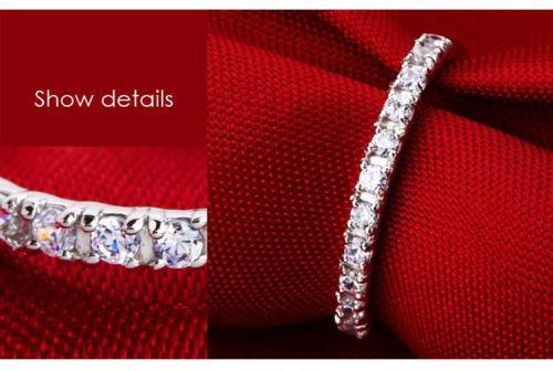 Nueva marca de moda de la joyería de la señora White Sapphire piedras preciosas 925 anillo de boda de plata esterlina Sz 4-9