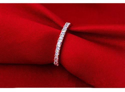 Marka Yeni fASHION Takı Lady Beyaz Safir Taşlar 925 Ayar Gümüş Düğün Band Yüzük Sz 4-9