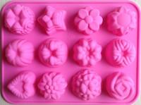 çiçek jöle şekeri toptan satış-Toptan-ücretsiz kargo fabrika Çiçek şekli Muffin vaka Şeker Jelly Buz kek Silikon Kalıp Kalıp Pişirme Pan Tepsi