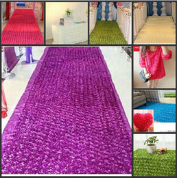 Wholesale Popular Cakes - New Popular Wedding Favors White Carpet 3D Rose Petal Aisle Runner For Wedding Party Decorations Supplies Shooting Prop 16 Colors Available