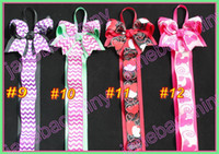 Wholesale Boutique Chevron Bows - free shipping 40pcs mix color 28'' popular chevron bow holder for boutique bows newest funky bows