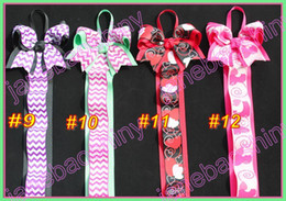 Wholesale Chevron Fabric Wholesalers - free shipping 40pcs mix color 28'' popular chevron bow holder for boutique bows newest funky bows