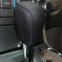 Wholesale Automatic Shift - XuJi Black Genuine Leather Gear Shift Knob Cover for Toyota Corolla Highlander RAV4 EZ Camry Automatic