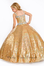 Wholesale Shop Girls Pageant Dresses - Wholesale - Girl Pageant Dress Online Shop Luxury Gold Sequined Ball Gown Spaghetti Beads Children Prom Party Dress